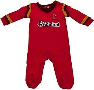 ラグビー ウェールズ代表 Wales RU オフィシャル商品 赤ちゃん・ベビー用 スリープスーツ ストライプ入り 長袖 ロンパース