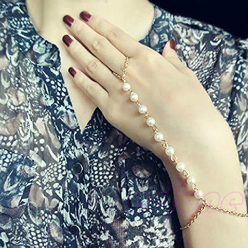 SimpleLife Frauen Vintage Armband Armreif Slave Kette Finger Ring Harness Hand Perle Kette