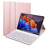 Funda para Teclado Samsung Galaxy Tab S7 +/Tab S7 Plus de 12,4 Pulgadas, versión 2020 (SM-T970/T975/T976) 7 Colores retroiluminado Teclado Bluetooth [US Layout] para Tab S7 Plus, Color Rosa