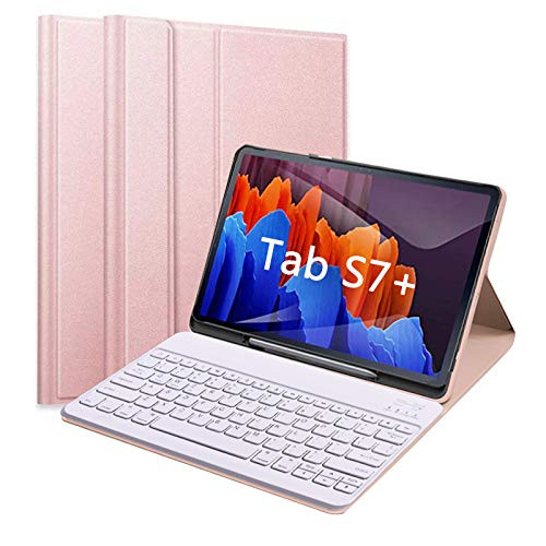 Tastatur Hülle für Samsung Galaxy Tab S7+, Abnehmbare Bluetooth Tastatur mit PU Schützhülle für Samsung Tablet S7 Plus 2020 12,4 Zoll (SM-T970/T975/T976) (Rosa Gold)