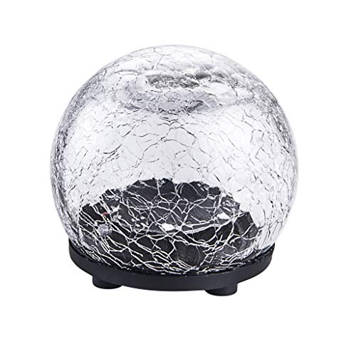 """Garden Solar Lights, Cracked Glass Ball Waterproof Warm White LED for Outdoor Pathway Walkway Patio Yard Lawn (4""""- 2 Pack)"""