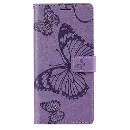 HAOYE Hülle für LG K41S / LG K51S, Geprägt Schmetterling Muster Leder Brieftasche Flip Handyhülle, Kartenfach & Magnet Kartenfach Schutzhülle für LG K41S / LG K51S, Lila