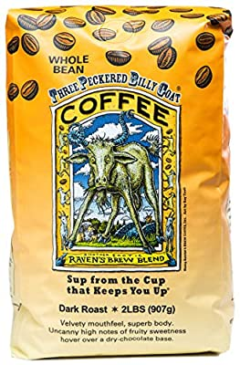 Raven's Brew Coffee Whole Bean Three Peckered Billy Goat – Dark Roast – Breakfast Coffee Bliss with an Instant Caffeine Supercharge – Delicious as Espresso – 2lb Bag