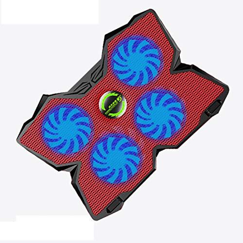 anruo Alimentado por USB ultra delgado tableta portátil portátil almohadilla de refrigeración radiador con LED cuatro ventiladores adecuado para portátil de 17' r20 Rojo