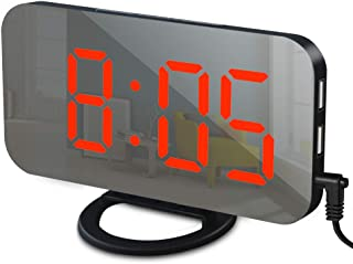 GLOUE Alarm Clock with USB Charger, Digital Alarm Clocks for Bedrooms, Large Mirror Surface, Easy Snooze Function, Dimming Mode Auto/Manual Adjustable Brightness Bedside Alarm Clocks (Black/Red)