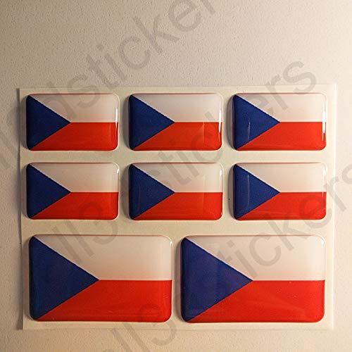 All3DStickers Aufkleber Tschechien Flagge 8 x Flaggen von Tschechien Rechteckig 3D Kfz-Aufkleber Gedomt Fahne
