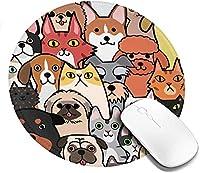 マウスパッド 円型 犬 猫 ペット 集まり キュート ゲーミングマウスパッド ゴム底 光学マウス対応 滑り止め 耐久性が良い おしゃれ かわいい 防水