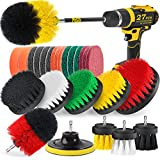 Holikme 27Piece Drill Brush Attachments Set,Scrub Pads & Sponge, Power Scrubber Brush with Extend Long Attachment All Purpose Clean for Grout, Tiles, Sinks, Bathtub, Bathroom, Kitchen