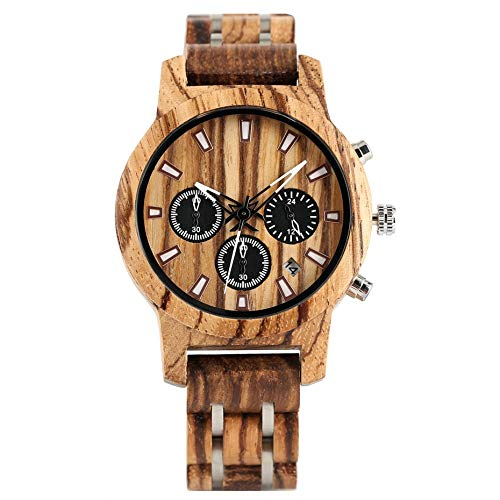 UIOXAIE Reloj de Madera Reloj para Hombre Reloj de Madera Pantalla de Fecha Casual Hombres de Lujo Cronógrafo de Madera Relojes Deportivos Militares de Cuarzo en Madera Regalos para a