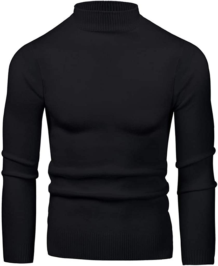 Mens Casual Slim Fit Pullover Knitted Turtleneck Elastic Crew Neck Sweaters Long Sleeve Bottoming Sweater Top Blouse