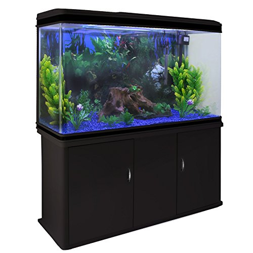 MonsterShop - Acuario 300 Litros con Mueble Negro y Kit con Plantas y Grava Azul 143cm x 120cm x 39cm