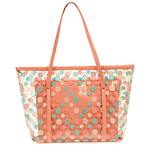 Lisli 2 in 1 Damen Handtasche Strandtasche Durchsichtige Wasserdicht Urlaub Freizeit Schultertasche Transparent Umhängetasche mit Süßen Punkte Muster