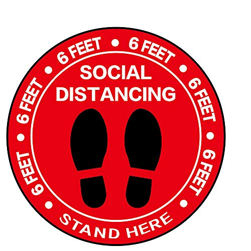"""Social Distancing Floor Decal Stickers - 30 Pack 8"""" Red Stand Floor Decal - Wait Here Sign Distance of 6 Feet Sticker Markers, for Crowd Control Guidance, Grocery, Pharmacy, Bank, Lab"""