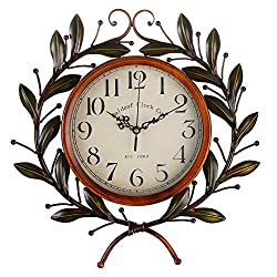 Olive Branch Vintage Clock, Eruner European Large Decorative Wall Art Non-Ticking Quartz Clock Unique for Family Living Room