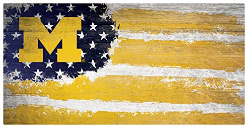 Fan Creations NCAA Michigan Wolverines Unisex University of Michigan Flag Sign, Team Color, 6 x 12