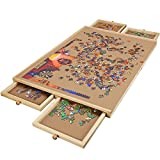 Lovinouse Upgraded 1000 Piece Wooden Puzzle Table, Jigsaw Puzzles Plateau Puzzle Board with Smooth Fiberboard Work Surface, 4 Sliding Drawers, Puzzle Storage for Teens Adults