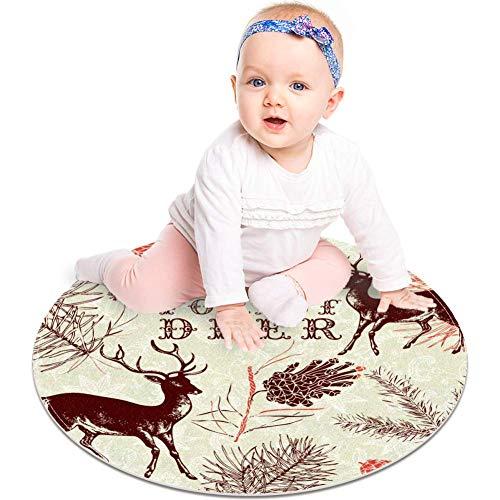 Alfombra redonda para gatear de bebé, gruesa para niños, con impresión 3D, suave, acolchado, 60 cm, lavable a máquina, pintura de ciervos del bosque