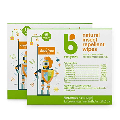 Babyganics DEET Free Travel Size Insect Repellant Wipes | Natural Plant Based, 30 Wipes (2 Packs of 15)