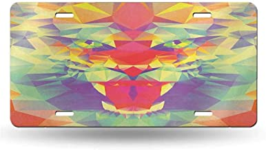 dsdsgog Novelty Home Safari,Polygonal Lion Face with Geometric Shades and Effects Exotic King of Jungle Theme, Multicolor 12x6 inches,SUV Plates Metal