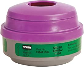 North by Honeywell 7584P100L Ammonia & Methylamine Cartridges with P100 Filter Plastic, Universal, Green/Purple (Pack of 2)