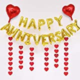 Happy Anniversary Balloons, 16 Inch Happy Anniversary Decoration Balloons with Red Foil Balloon Heart Hanging for All Ages Wedding Anniversary Decorations