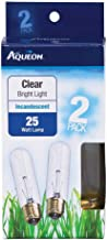 Aqueon Incandescent Tubular Bulb Replacements, Clear Bright Light, 25 Watts, 2 Pack