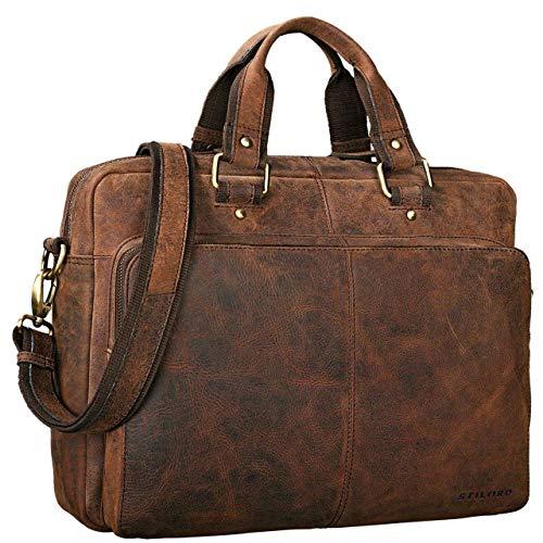 STILORD 'Gero' Vintage Ledertasche Herren braun groß 14 Zoll Laptoptasche Umhängetasche Lehrertasche Aktentasche Arbeitstasche XL Uni Rindsleder, Farbe:Sepia - braun