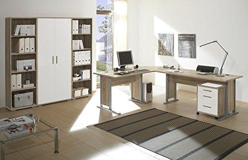 Arbeitszimmer Möbel komplett Set Büro Büromöbel Office Line in Eiche Sonoma / Weiss Glanz 7-teilig