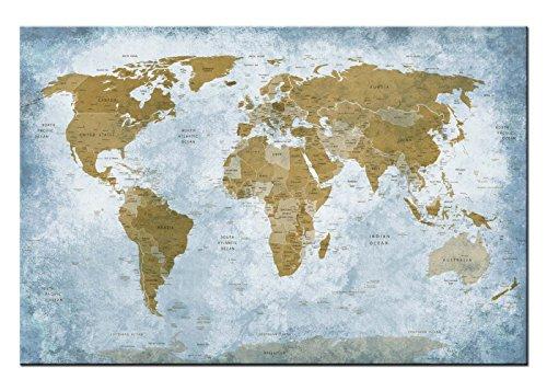 Dsign24 Weltkarte edel als Leinwandbild Wandbild 120 x 80 cm – Wanddeko, Kunstdruck, Keilrahmen Globus World Classic A05050