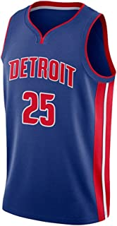 Jerseys del Baloncesto Nueva Tela Hombres, Derrick Rose # 25 Detroit Pistons Equipo, Unisex Camiseta sin Mangas de Baloncesto Uniforme Traje Alero