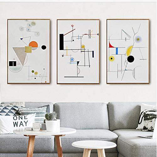 SQWPATS Geometría Abstracta Moderna Wassily Kandinsky Lienzo Pintura Arte Cartel Pared Cuadros para Sala de Estar decoración del hogar 50x70cmx3pcs sin Marco