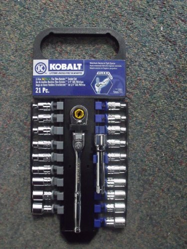 "Kobalt 21-Piece 1/4"" Flex Thru Ratchet Set 22353"