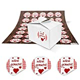 35 kleine weiße Mini Geschenkschachtel Geschenkbox 8 x 6,5 x 5,5 + 35 runde rot-weiß karierte...