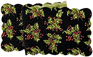 Quilted Reversible Holly Berry Holiday Table Runner Black