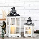 JHY DESIGN - Juego de 2 faroles colgantes vintage de 55 cm y 36 cm de alto, decorativos, para velas...