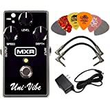 MXR M68 Uni-Vibe Chorus Vibrato Effects Pedal BUNDLE with AC/DC Adapter Power Supply for 9 Volt DC 1000mA, 2 Metal-Ended Guitar Patch Cables AND 6 Dunlop Guitar Picks
