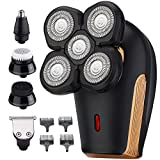 Head Shavers for Bald Men, Electric Rotary Shaver with Multi-Function, 4D Floating 5 Head Waterproof Mens Shaving Razors, 5 in 1 Wet & Dry Grooming Kit, Cordless Type-C Rechargeable, Beard Trimmer