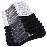 Ueither Calcetines Cortos Hombre Invisibles Respirable Calcetines tobilleros Algodón Antideslizantes (Tamaño: 44-48, Negro/Blanco (3 Pares Cada))