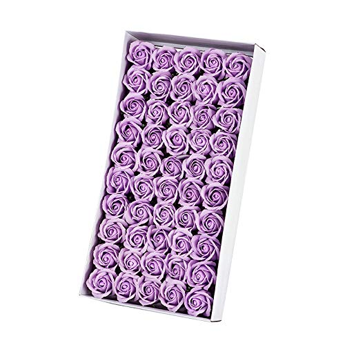 HEYB Juego de 50 jabones de baño perfumados con flores y pétalos de rosa, aceite esencial, jabón de baño en forma de pétalos de boda, fiesta de regalo, color morado claro