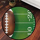№16022 Round Area Rug Floor Kitchen Carpet, Sports, American Football Field and Ball Realistic Vivid Illustration College, Green Brown, for Home Decor