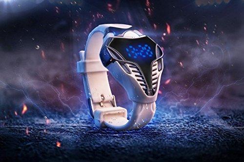 CursOnline Elegante Orologio Uomo Ragazzo Iron Man Design con Cinturino in Silicone Bianco Led Blu Morbidissimo Nuovo Modello Watch Sport mod.492-15