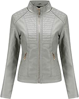 Yshaobinggva Women's Leather Jacket Slim Leather Jacket Casual Stand Collar Leather Jacket Motorcycle Leather Jacket (Color : Gray, Size : XXL)