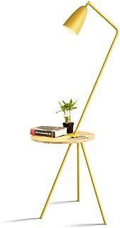 Lampadaire simple en métal E27 avec lampe de table en bois pour chambre à coucher, salon, bureau, hauteur 150 cm × largeur...