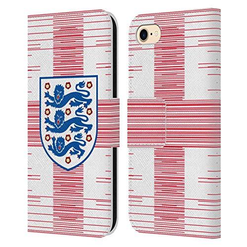 Head Case Designs Offizielle England National Football Team Fahne 2 Wappen 3 Leder Brieftaschen Handyhülle Hülle Huelle kompatibel mit Apple iPhone 7 / iPhone 8 / iPhone SE 2020