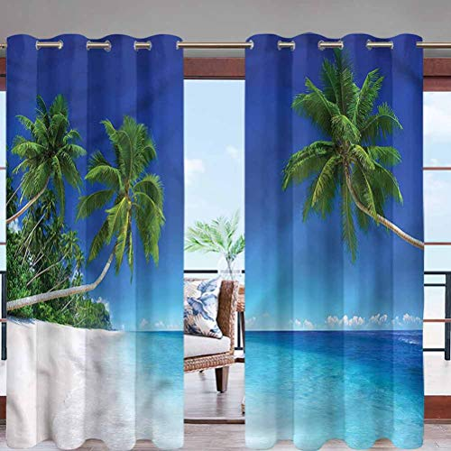 Hiiiman Fade Resistant Blackout Curtains with Grommet Top Exotic Pacific Ocean Palms W84 x L84 for Sliding Door, Patio, Pergola, Porch, Deck, Lanai, and Cabana