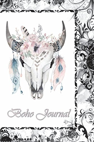 Boho Journal: 140 Lined Pages Softcover Notes Diary, Creative Writing, Class Notes, Composition Notebook -  Black Boarder Boho Skull