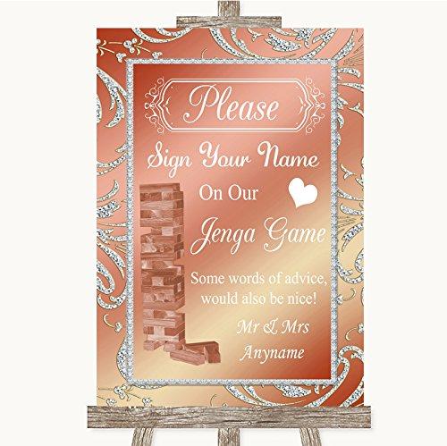 Letrero de boda rosa coral con diseño de jenga, color rosa Framed Brushed Gold Small: Amazon.es: Oficina y papelería