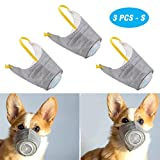 PeSandy Adjustable Dog Respirator Mask, 3 PCS Breathable Dog Muzzle Protective Mask for Small to Large Dogs Filter Air Pollutants Anti Fog/Anti Dust/Anti Secondhand Smoke, Pet Respirator Mask (S)