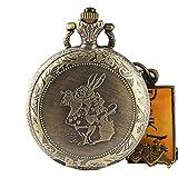 Reloj de bolsillo para hombre, romántico reloj de bolsillo de bronce Alicia en el País de las Maravillas, regalo para hombres regalo de Navidad
