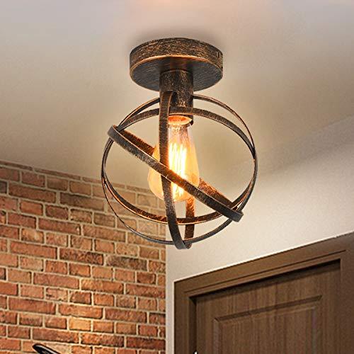 Qcyuui Lámpara de techo retro, lámpara colgante de metal industrial, bronce, lámpara de techo esférica de montaje empotrado, accesorio para dormitorio, comedor, cocina, pasillo, porche
